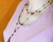 Gemstone Lariat Necklace: Labradorite and Amethyst on Sage Silk