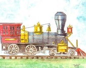 Train Watercolor Print for Kids, Locomotive Engine Painting, Home Decor Wall Art for Children, Choo-choo Picture, Railroad Drawing