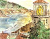 Lighthouse Watercolor Print, Heceta Head, Oregon Art, Seashore Home Decor, Beach Sunset Picture, Painting of Mountains and Ocean