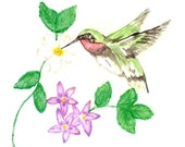 Hummingbird and Flowers Matted Fine Art Print of Original Watercolor Painting - Bird Floral Home Decor