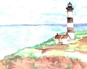 Watercolor Print of Bodie Island Lighthouse - ValerieNusbaumAandD