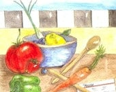 Vegetables and Fruit Watercolor Print, Still Life Kitchen Painting, Food Art, Cooking Utensils and Recipe Card, Tomato, Pepper and Carrot