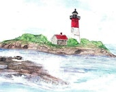 Nauset Lighthouse in Cape Cod, Massachusetts Matted Art Print of Original Watercolor Paintng - New England Picture