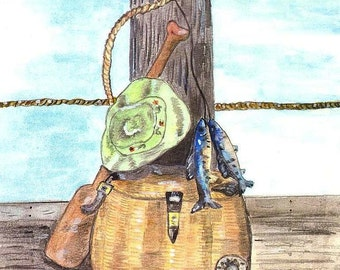 Fishing Watercolor Print, Rod and Reel Painting, Fish Home Decor Art, Fishing Tackle on Dock Picture, Creel, Oar, Hat, Lures, Trout