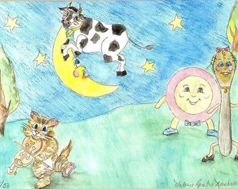 Cow Jumped Over the Moon Watercolor Print, Hey Diddle Diddle, The Cat and the Fiddle Painting, Kids Art, Nursery Rhyme Picture