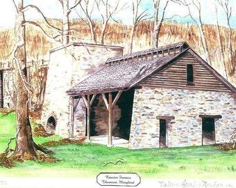 Maryland Art, Catoctin Furnace Watercolor Print, Thurmont Landmark Painting, Historical Civil War Iron Works Structure