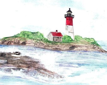 Nauset Lighthouse Print, Cape Cod Watercolor, Massachusetts Wall Art, New England Picture, Seascape Painting, Ocean Seashore Art