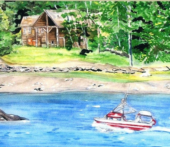 Alaska Art, Ketchikan Watercolor Print, Alaska Shoreline with Boat, Cabin, Water and Mountains, Salmon Fishing Land and Seascape Picture