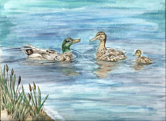 Mallard Ducks Watercolor Painting, Matted Fine Print Duck Family, Ducklings on Pond Waterscape Picture