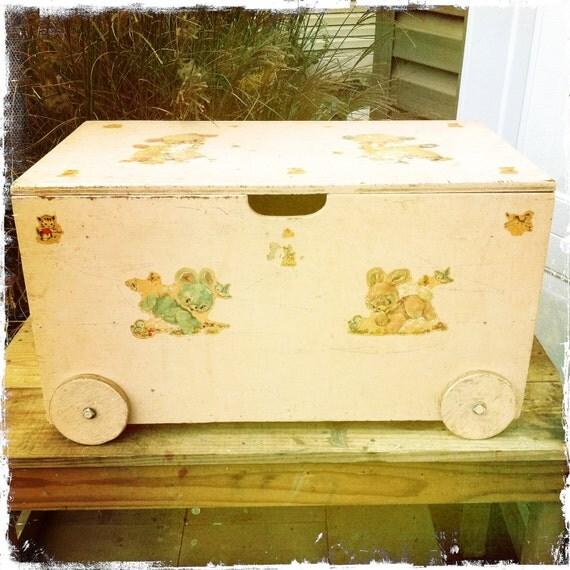 "Vintage Pink Wood Toy Box on Wheels - 27"" w x 15"" t x 16"" d"