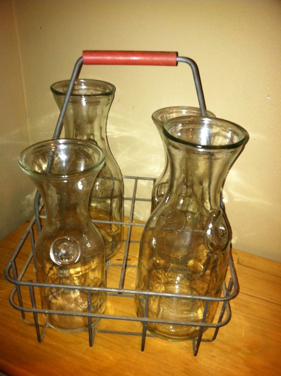 vintage milk bottle carrier metal crate with by. Black Bedroom Furniture Sets. Home Design Ideas