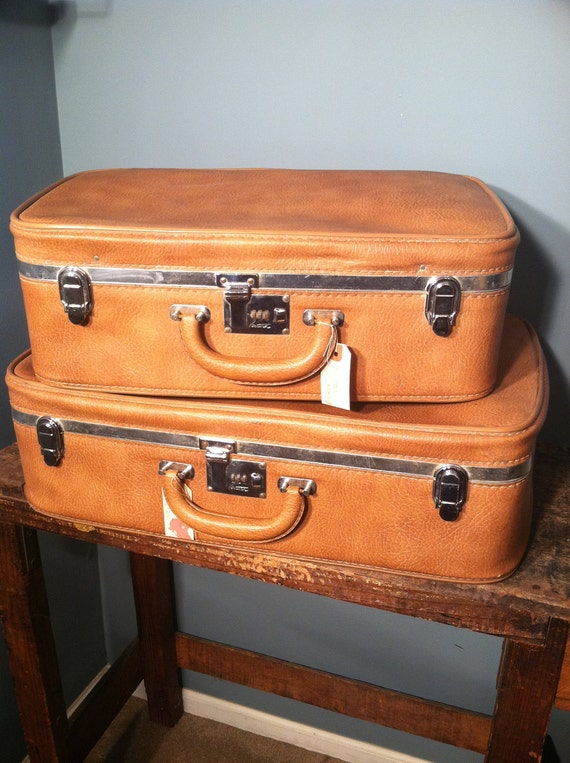Vintage Leather Suitcases Set of 2