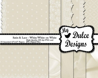 """INSTANT DOWNLOAD Digital Paper Pack """"Satin & Lace White on White"""" 12""""x12"""" Digital Paper for Scrapbooking Photography Crafts Cards"""