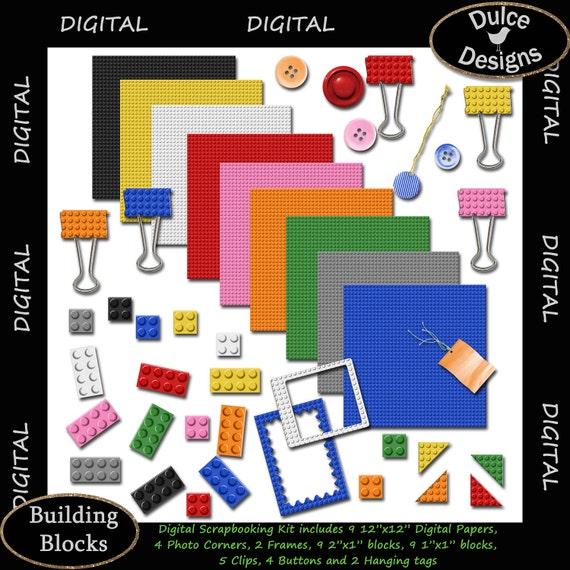 "INSTANT DOWNLOAD Digital Scrapbook Kit ""Building Blocks"" - Digital Pack for Scrapbooking Photography Invitations Cards Crafts"
