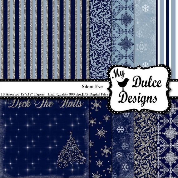 """Instant Download Digital """"Silent Eve""""  12x12 CHRISTMAS Digital Paper Pack for Scrapbooking Crafts Printing Photography Paper"""