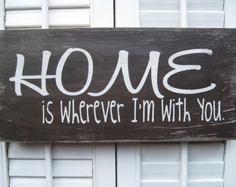 Home is Wherever I'm With You Word Art Sign