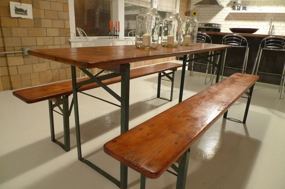 German beer garden table with benches. Vintage German Beer Garden Table WBenches Omero Home Vintage