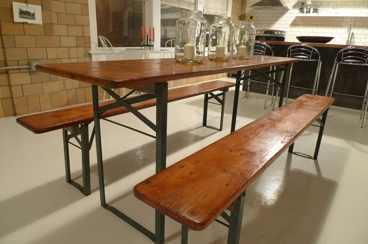 Refurbished German Beer Garden Table With Benches