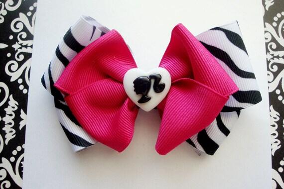 Hotpink and black zebra print wild glam girl hairbow