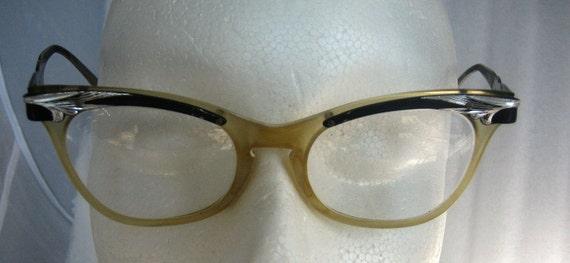 Vintage Black Aluminum, Celluloid Plastic Eye Glasses low profile cat eyes