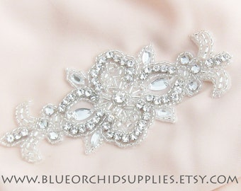 Crystal Beaded Applique, Rhinestone Applique - 1 Piece - Sashes Headbands Apparel Wedding Bridal DIY Silver Applique Dance