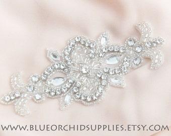 Crystal Beaded Applique, Rhinestone Applique - 1 Piece - Sashes Headbands Apparel Wedding Bridal DIY Silver Applique Dance
