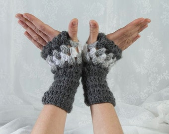 Grey Gloves, Grey Mittens, Grey Wrist Warmers, Grey Crochet Gloves, Grey Crochet Mittens, Wrist Warmers, Finger Less Gloves, Crochet Gloves