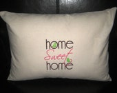 Home Sweet Home Embroidered Linen Pillow
