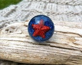 Team USA Star Ring - Handmade - Be Patriotic - Fourth of July - Star Ring - USA - Snow Globe Ring - Star - Star Jewelry