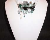 Aluminium wire necklace with earrings