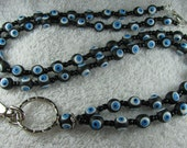 Black, White & Blue Turkish Eye Beaded Lanyard With Toggle Clasp And Trigger Hook - No 431