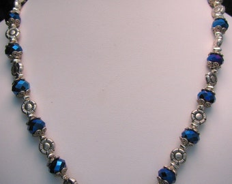 Blue Crystal and Silver Flower Beaded Necklace - Item 373