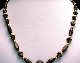 Black and Gold Lampwork and Pressed Glass Beaded Necklace - Item 338