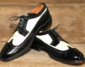 Vintage Hanover Imperial Wingtip Spectator Two Tone Mens Dress Shoes