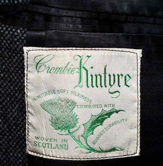 RESERVED FOR AMANALAS...Vintage 1950s English Crombie Kintyre Nailhead Scottish Tweed Mens Covert Top Coat 44 L