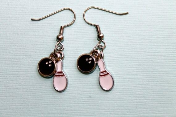Lucky Strike Earrings- 1950s Style-Rockabilly- Bowling Ball & Pin- Enamel- Dangle- Fish Hook Ear Wires-Hypoallergenic- For Women,Teens,Girls