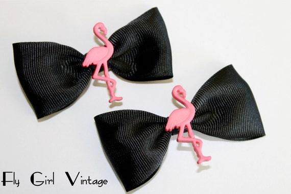 Pink Flamingo Hair Bow Clips- (set of 2)-1940's Style-Rockabilly-Hawaiian-Tropical-Tiki-Luau-Jadite-For Women, Teens, Girls-Plastic-Charms