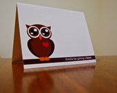 Thanks For Giving a Hoot Thank You Card Set of 12