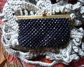 vintage purse made of deep blue nearly black beads