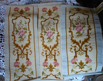 three antique french needle point panels with roses Napoleon III,19th century.FREE SHIPPING.