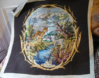 antique french needle point big panel,the fairy tale:the wolf and the lamb with trees and flowers.FREE SHIPPING.