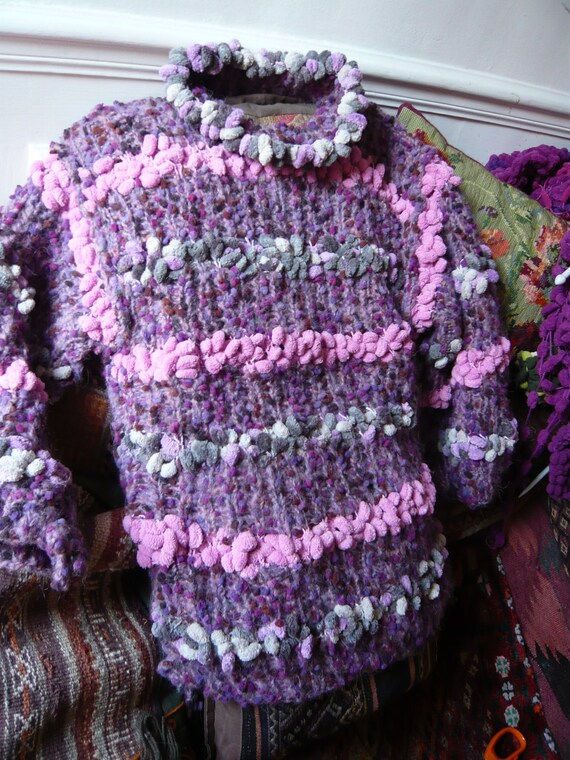 RESERVED to Gabrielle,hand knitted, violet,pink, warm,  woman sweater,FREE SHIPPING.