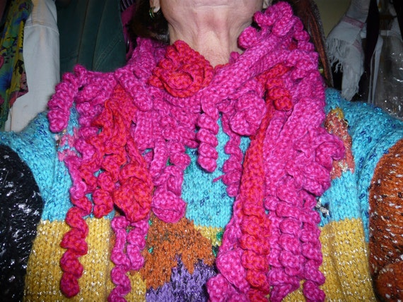 handmade crochet freeform scarf called crazy scarf, fuschia pink and red,100/100 wool