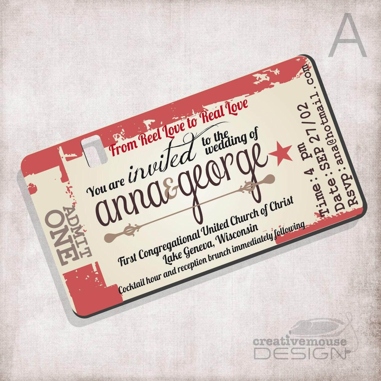 Wedding Invitation Movie Ticket / Bridal Invitation/ Birthday