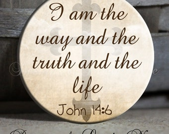 """I am the way the truth and the life John 14:6 on Tan Sky Background - Christian - 1.5"""" Pinback Button ~ Religious ~ Jesus ~ God ~ Bible"""