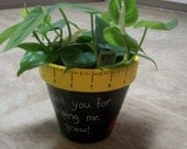 "Now on SALE - Thank you for helping me grow, painted 6"" flower pot - end of school term gift, or ANYTIME gift"