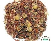 Chai Tea Organic Premium Blend of Rooibos, Chamomile, Carob, Cardamom, Cloves Cinnamon Orange Peel and Cassia Maple and Cloves
