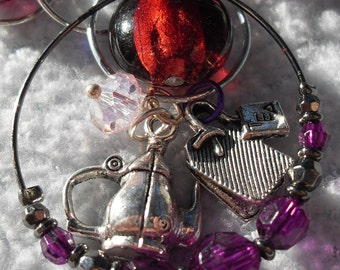 Charm Bracelet Tea Charms New Style Silver with Fuschia Glass Accent Beads Fun Unique Custom