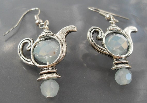 FREE SHIPPING and SALE Silver Teapot Earrings with Ice Blue Crystal Bead for Center Custom Made Matching Necklace Available Pretty