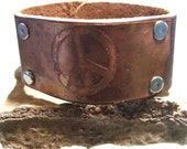 Leather Cuff with Peace etched in Brass